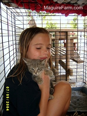 A girl inside of a dog crate hugging a little light gray kitten with a wooden glider swing outside of the crate on a stone porch. There is a litter box inside of the crate.