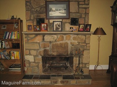 A stone fireplace with photos on top of the mantel. There is a wooden This End Up bookshelf next to it. There is a lamp on the otherside
