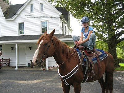 A tacked up brown and white horse is standing in a driveway in front of a white farm house with a wrap around porch. A blonde-haired girl wearing a blue shirt, blue jeans and a blue helmet is sitting on the horse with her feet up on the horse's back.